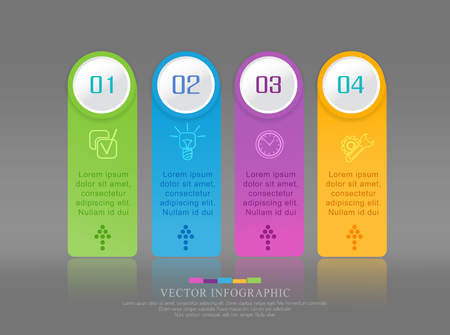 Vector abstract element for business. Strategy in stages. Steps of development, teamwork. Business concept illustrated in four stages, parts, steps. Graph, diagram, presentation