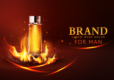 Realistic modern design vector glass vial on a dark background in flames and smoke for advertising for sales, template cosmetic, and perfume.