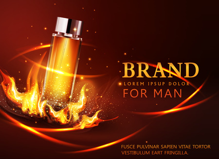 Vector glass vial on a dark background in flames and smoke.Element for modern design, advertising for sales, template cosmetic, perfume.  Realistic 3d illustration. Banner, flyer, brochure for the promotion of products for beauty (for man)
