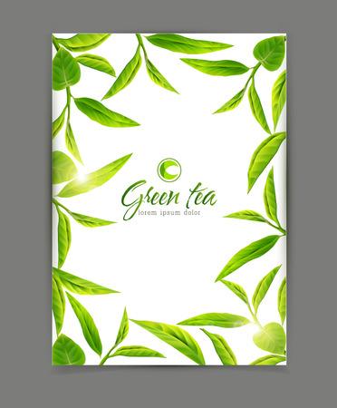 Green tea leave template.