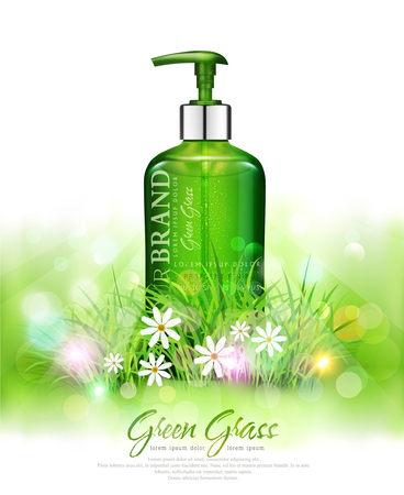 Vector realistic, green, transparent bottles 3d with soap pump  on green grass background and sun rays. Cosmetic vial wish herbal shampoo,gel. Elements, template for cosmetic business, advertising, promotion