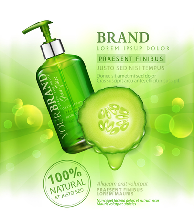 Vector realistic, green, transparent bottles 3d with soap pump  on Juicy cucumber background and sun rays. Cosmetic vial wish shampoo,gel. Elements, template for cosmetic business, advertising, promotion