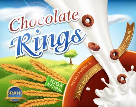 Illustration réaliste avec des éclaboussures de lait et des anneaux de chocolat versant dans le bol.
