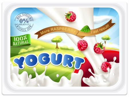 Template stickers for packing yogurt with raspberries on a blue sky.