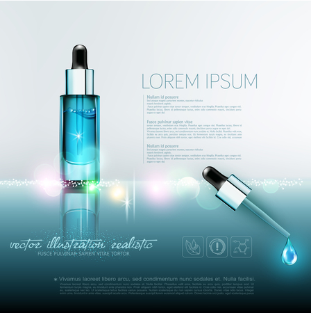 Vector glass vial with professional facial serum with a pipette on  the blured  background .Template cosmetic products with oil Q10. Element for design, advertising, promotion of cosmetic Çizim