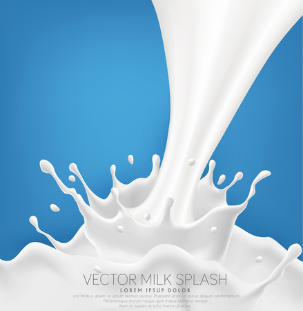 Vector milk splash with splashes isolated on a blue background. Element for design, advertising, promotion of dairy products.