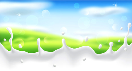 Vector abstract background with blur and a milk splash. Green grass, sky, clouds, sun. Template for modern design, advertising.