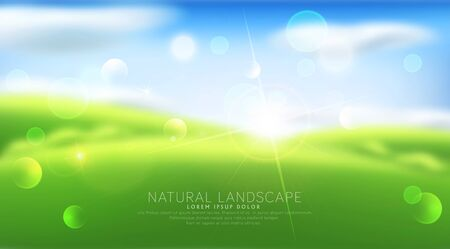 Vector abstract pattern with blur. Green grass, sky, clouds, sun. Template for modern design, advertising. Illustration