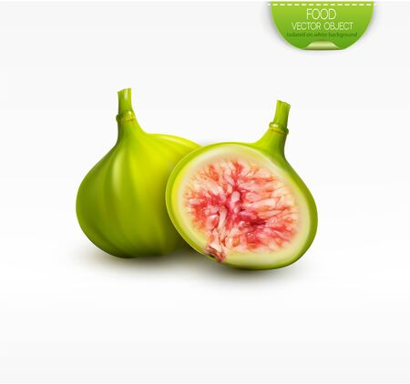 Vector 3d illustration with whole green fig and half a fruit, isolated on white background. Element for design, advertising, packaging of tea products