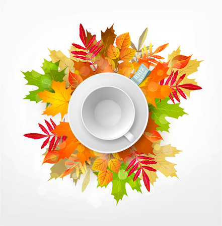 Vector 3d illustration with white empty mug and saucer isolated on a background of multi-colored autumn leaves. Element for design, advertising, packaging Illustration