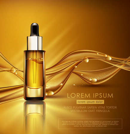 Vector glass vial with professional facial serum on  the background of waves and bubbles. Template cosmetic products with oil Q10. Element for design, advertising, promotion of cosmetic Illustration