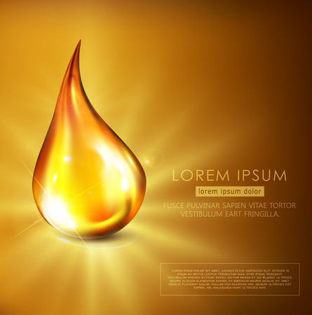 Vector illustration: golden drop of oil, golden serum, falling on a golden background with bright rays. Flyer template, brochure, banner to promote cosmetics, spa, engine oil.