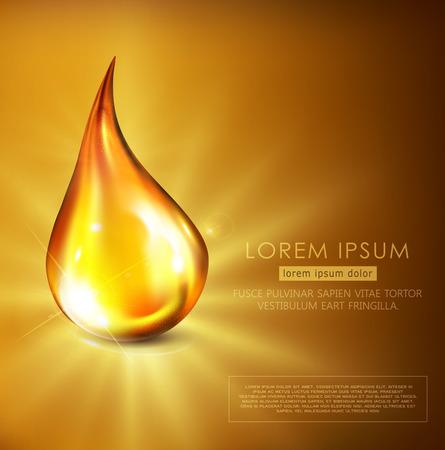 Illustrazione vettoriale: goccia d'oro di petrolio, siero dorato, che cade su uno sfondo dorato con raggi luminosi. Modello di volantino, brochure, banner per promuovere cosmetici, spa, olio motore.