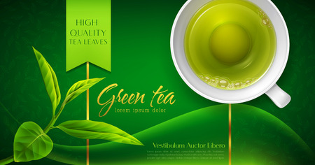 Vector 3d illustration with a mug of green tea and leaves on a green background. Template for packing. Element for design, advertising of product promotion, banner