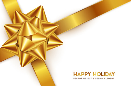 Vector illustration. Gold bow for packing gifts, isolated on white background. Realistic 3d object. Element for design.