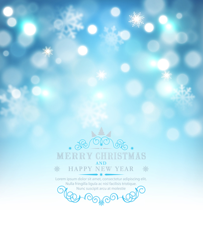 Vector illustration for Merry Christmas and Happy New Year . Greeting card with snow and snowflakes on a blue bokeh background . Template for elegant design of postcard, flyer, congratulatory brochure Illustration