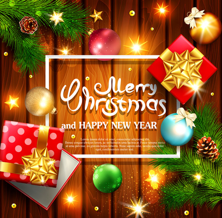 Vector illustration for Merry Christmas and Happy New Year . Greeting card with New Years balls, branches of spruce, gift, bright stars on a wooden background  and text in the frame.Template for elegant design of postcard, flyer, congratulatory brochure