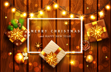 Vector illustration for Merry Christmas and Happy New Year . Greeting card with New Year's with bright luminous garlands on a wooden background and text in a frame.Template for elegant design of postcard, congratulatory brochure