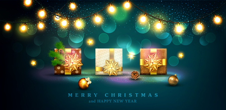Vector illustration for Merry Christmas and Happy New Year . Greeting card for New Year's with standing three packaged gifts in boxes with a gold bows, balls, branches of spruce, glowing garland. Template for elegant design of postcard, flyer, congratulatory brochure