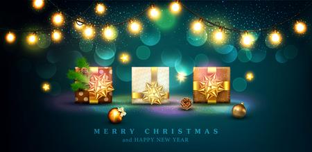 Vectorillustratie voor vrolijk kerstfeest en gelukkig Nieuwjaar. Wenskaart voor Nieuwjaar met drie verpakte geschenken in dozen met een gouden bogen, ballen, takken van vuren, gloeiende garland. Sjabloon voor elegant ontwerp van briefkaart, flyer, felicitatie brochure Stockfoto - 91390136