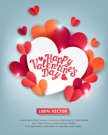 Vector illustration for Valentine's Day. Hearts carved from paper, on a on a gray-blue, shiny background with white big heart and text. Template for a greeting card for the Day of All Lovers.