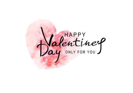 Vector illustration for Valentines Day.  heart painted in watercolor (imitation) with text to Valentines Day. Template for promotion, flyers, invitation, posters, brochure, banner, greeting card for the Day of All Lovers.