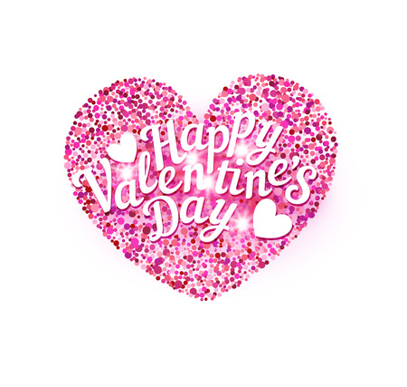 Vector illustration for Valentines Day. Pink heart with text. Template for a greeting card for the Day of All Lovers.
