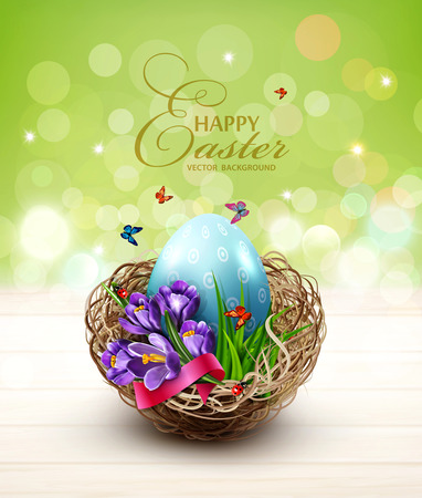 Easter card with colorful eggs and crocuses, lying in a wicker basket, standing wooden table. Design element, greeting card template vector illustration. Illustration