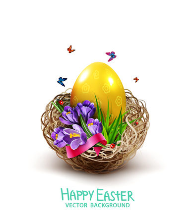 Easter card with colorful eggs and crocuses lying in a wicker basket, isolated on white background. Design element, greeting card template vector illustration.
