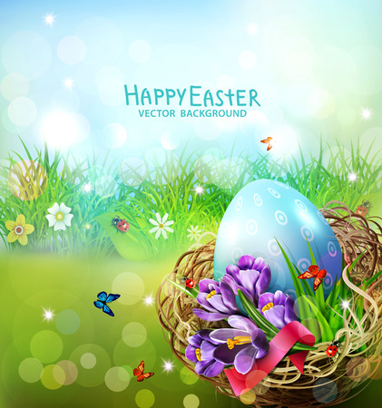 Easter card with colorful eggs and crocuses lying in a wicker basket against the background of grass and sky. Design element, greeting card template vector illustration.