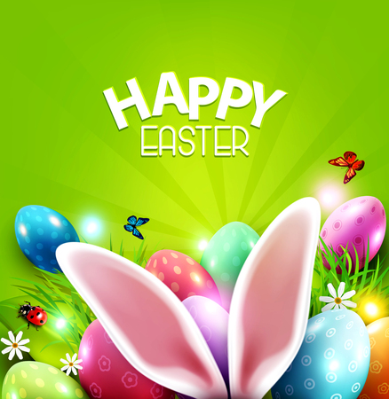Easter greeting card with hare ears, eggs, daisies on a green background. Design element, greeting card template vector illustration.