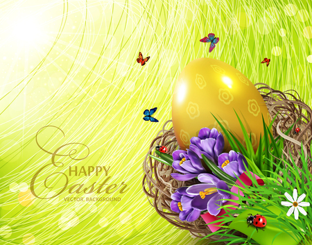Easter card vector illustration with colorful eggs and crocuses lying in a wicker basket against the background of grass and sky. Design element, greeting card template.