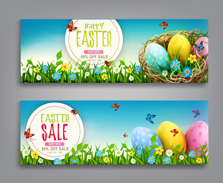 Set of vector illustration. Easter vintage sale banner, advertising round card with eggs lying in a wicker basket and with green grass against the background of blue sky. Design element, template discount posters, wallpaper, flyers, invitation, brochure, greeting card. 矢量图像