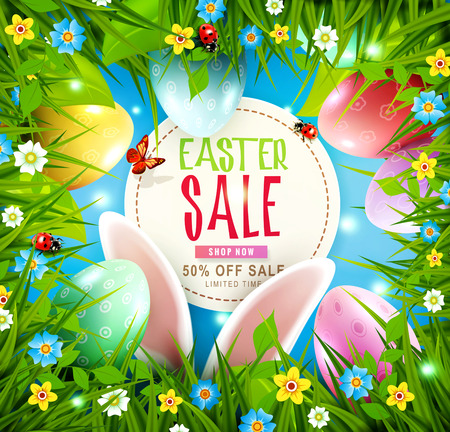 Easter greeting card with hare ears, eggs, green grass, flowers against the background of blue sky. Design element, template discount posters,wallpaper, flyers, invitation, brochure, greeting card.