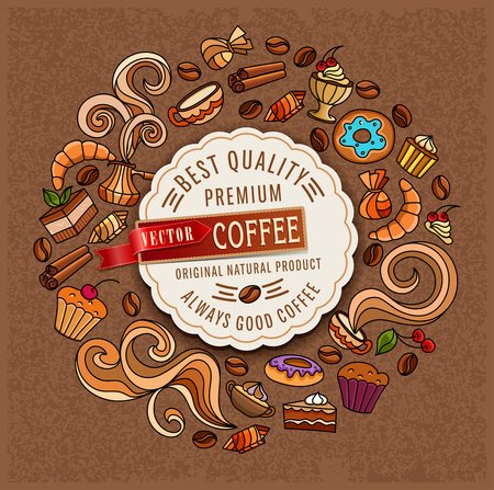 Hand-drawn vector doodles on a coffee theme: cups, turka, curls, cake, cinnamon, donuts, candies, coffee beans, sweets. Elements for design. Illustration for a cafe. Illustration