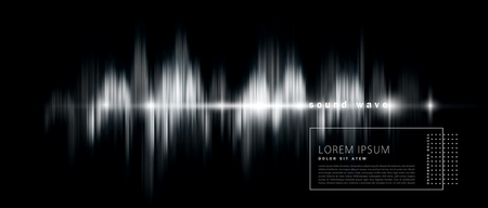 vector abstract background with a sound wave, black and white version. Element for design, template, banner Ilustração
