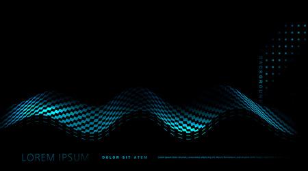 vecteur abstrait avec vague bleue sur fond noir. Élément de conception, modèle, bannière
