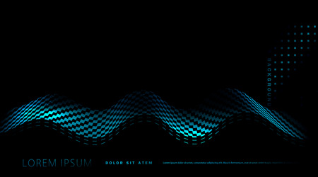 vector abstract background with blue wave on black background. Element for design, template, banner