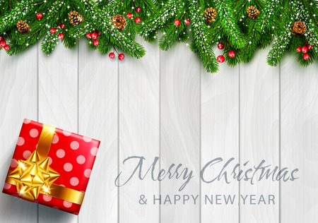 Vector illustration for Merry Christmas and Happy New Year . Greeting card with New Year's with  green branches of pine, snow, coneson and a gift on grey wooden background. Template for elegant design of postcard, flyer, congratulatory brochure
