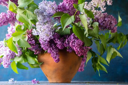 Bouquet of lilac in a clay vase on a dark blue textured background in the rays of the sun