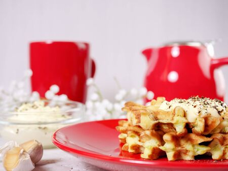 Zucchini waffles on a red plate with sauce and spices. Food healthy eating concept. Zdjęcie Seryjne