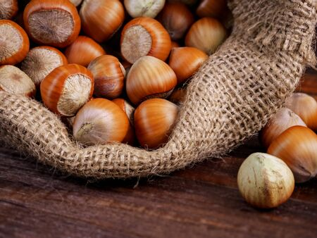 Hazelnuts in a jute bag, close-up, macro. Food consept