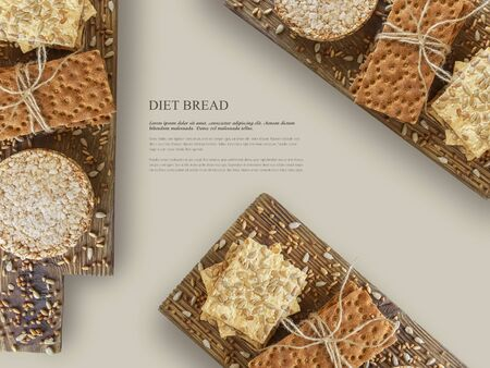 Food concept. Mockup, template for design. Three types of diet bread on a wooden board. isolation on a beige background. Round buckwheat crispbread, wheat crispbread and crispbread with sunflowe in wooden vintage  box , on wooden textured background.