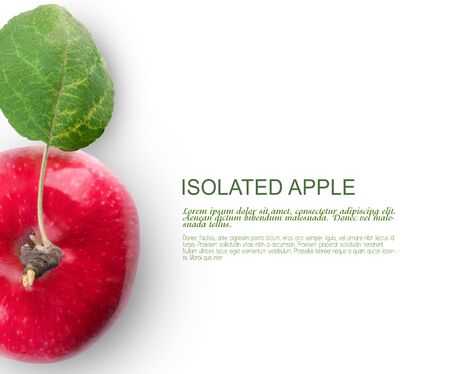 Food concept. Template for design. Isolated apple on the white background