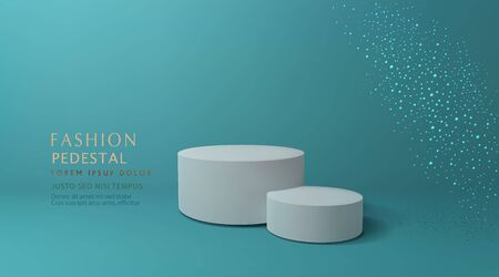 Vector green minimal scene , podiumfor cosmetic product presentation. Abstract background with geometric podium platform in pastel colors. Template for design, presentation, advertisement.3d rendered.