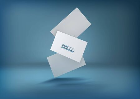 Three white business cards on a blue background in space. Vector illustration. template for design visualization.