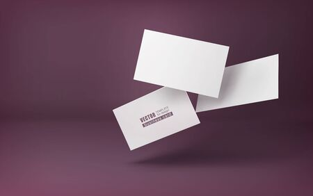 Three white business cards on a burgundy background in space. Vector illustration. template for design visualization.