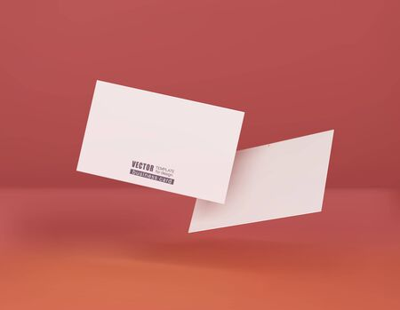 Two white business cards on a corral background in space. Vector illustration. template for design visualization. Ilustracja