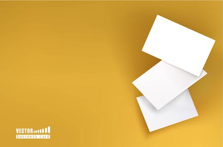 Three white business cards on a yellow background in space. Vector illustration. template for design visualization. Ilustracja