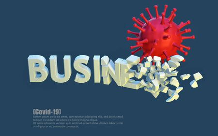 Destruction, negative impact of ?OVID-19 on business. 3d inscription collapses due to the pandemic of the virus virus. 3d illustration. Element for design. Layout Template.